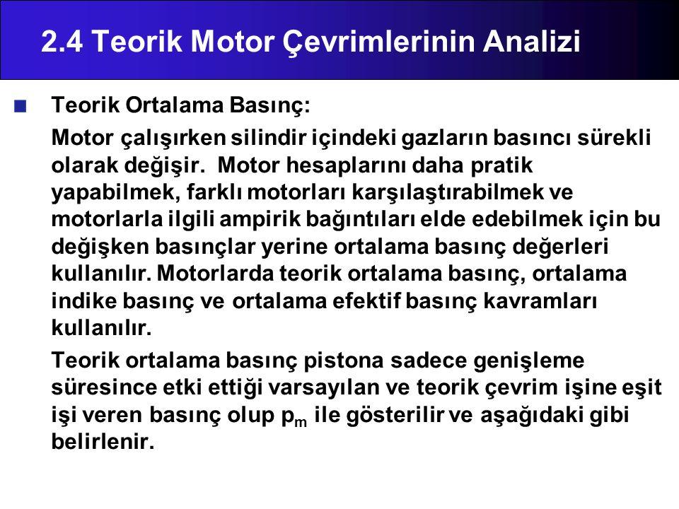 2.4 Teorik Motor Çevrimlerinin Analizi