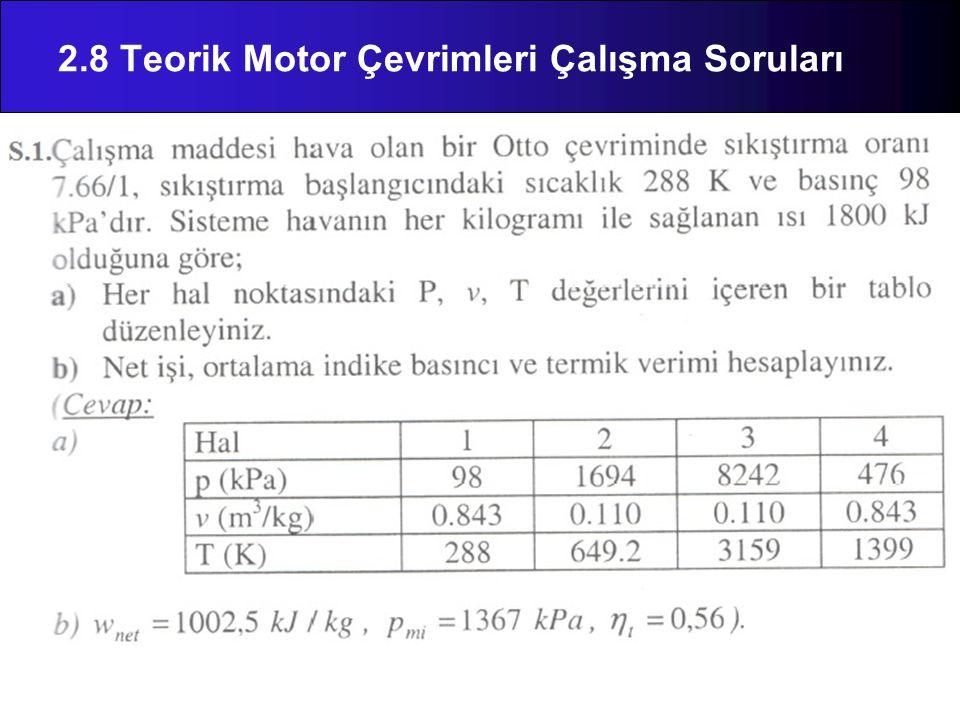 2.8 Teorik Motor Çevrimleri Çalışma Soruları