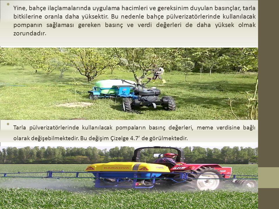 Yine, bahçe ilaçlamalarında uygulama hacimleri ve gereksinim duyulan basınçlar, tarla bitkilerine oranla daha yüksektir. Bu nedenle bahçe pülverizatörlerinde kullanılacak pompanın sağlaması gereken basınç ve verdi değerleri de daha yüksek olmak zorundadır.