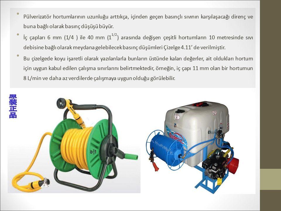 Pülverizatör hortumlarının uzunluğu arttıkça, içinden geçen basınçlı sıvının karşılaşacağı direnç ve buna bağlı olarak basınç düşüşü büyür.