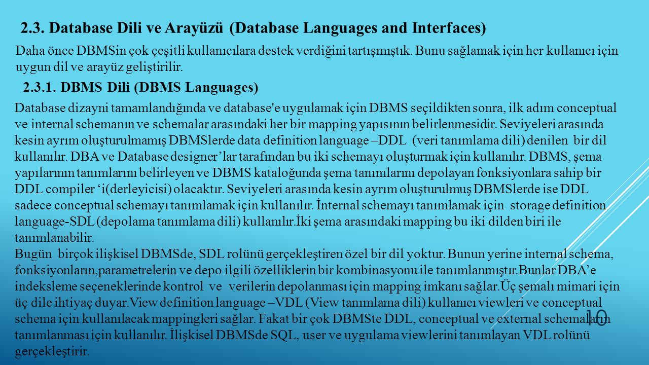 2.3. Database Dili ve Arayüzü (Database Languages and Interfaces)