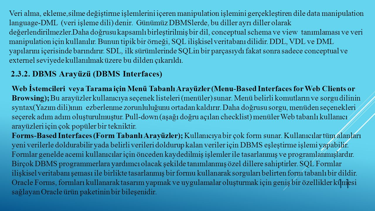 2.3.2. DBMS Arayüzü (DBMS Interfaces)