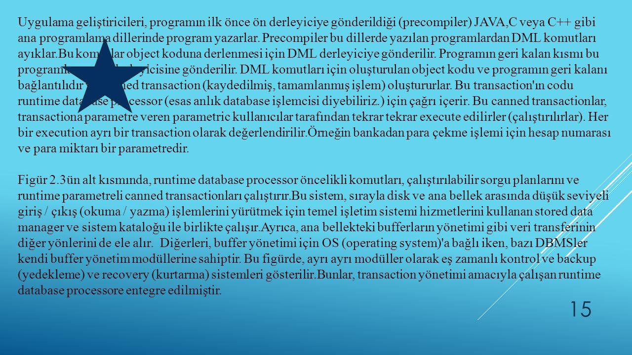 Uygulama geliştiricileri, programın ilk önce ön derleyiciye gönderildiği (precompiler) JAVA,C veya C++ gibi ana programlama dillerinde program yazarlar. Precompiler bu dillerde yazılan programlardan DML komutları ayıklar.Bu komutlar object koduna derlenmesi için DML derleyiciye gönderilir. Programın geri kalan kısmı bu programlama dili derleyicisine gönderilir. DML komutları için oluşturulan object kodu ve programın geri kalanı bağlantılıdır ve canned transaction (kaydedilmiş, tamamlanmış işlem) oluştururlar. Bu transaction ın codu runtime database processor (esas anlık database işlemcisi diyebiliriz.) için çağrı içerir. Bu canned transactionlar, transactiona parametre veren parametric kullanıcılar tarafından tekrar tekrar execute edilirler (çalıştırılırlar). Her bir execution ayrı bir transaction olarak değerlendirilir.Örneğin bankadan para çekme işlemi için hesap numarası ve para miktarı bir parametredir.