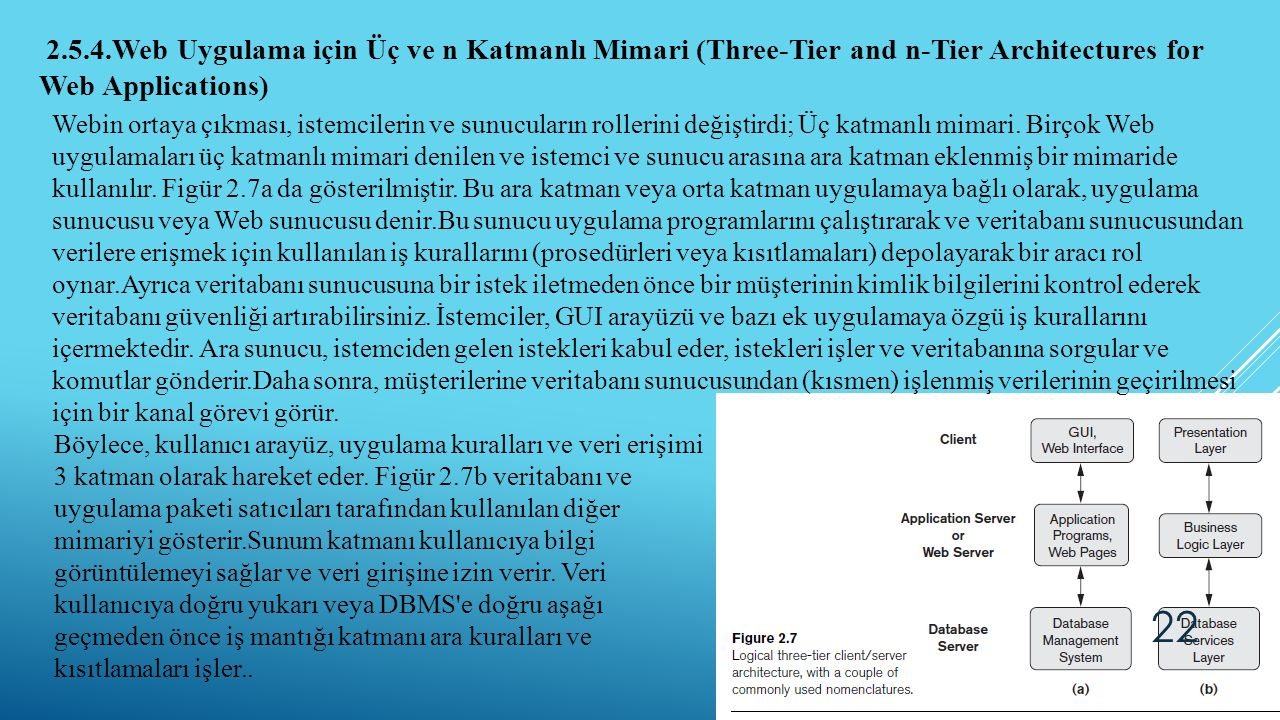 2.5.4.Web Uygulama için Üç ve n Katmanlı Mimari (Three-Tier and n-Tier Architectures for Web Applications)