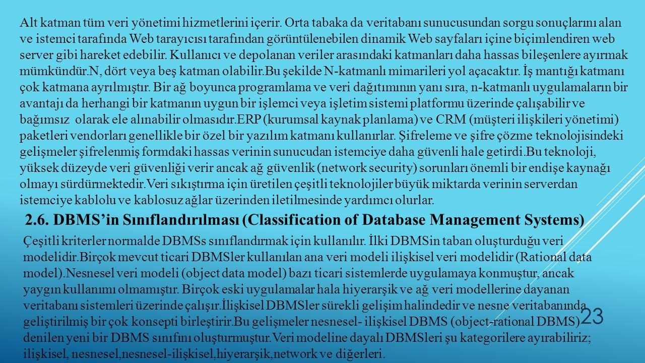 Alt katman tüm veri yönetimi hizmetlerini içerir