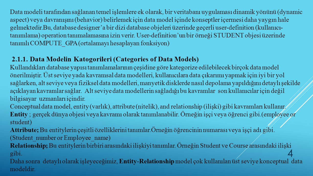 2.1.1. Data Modelin Katogorileri (Categories of Data Models)