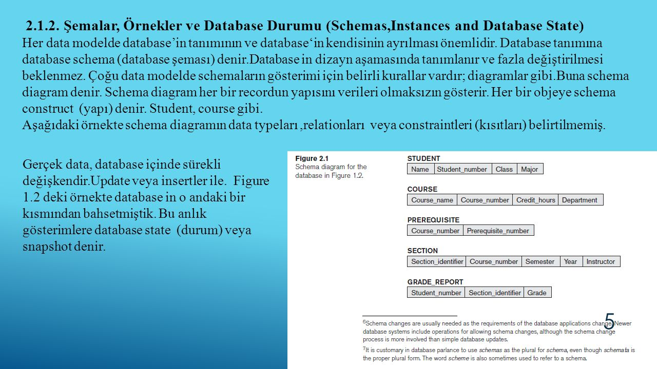 2.1.2. Şemalar, Örnekler ve Database Durumu (Schemas,Instances and Database State)