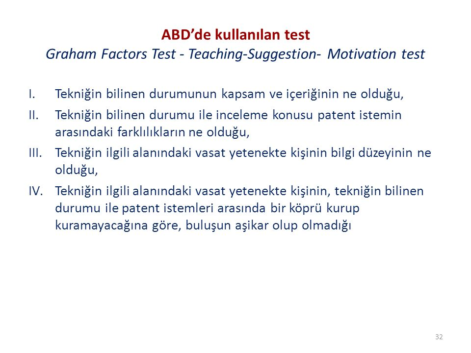 ABD'de kullanılan test Graham Factors Test - Teaching-Suggestion- Motivation test