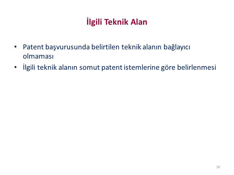 İlgili Teknik Alan Patent başvurusunda belirtilen teknik alanın bağlayıcı olmaması.