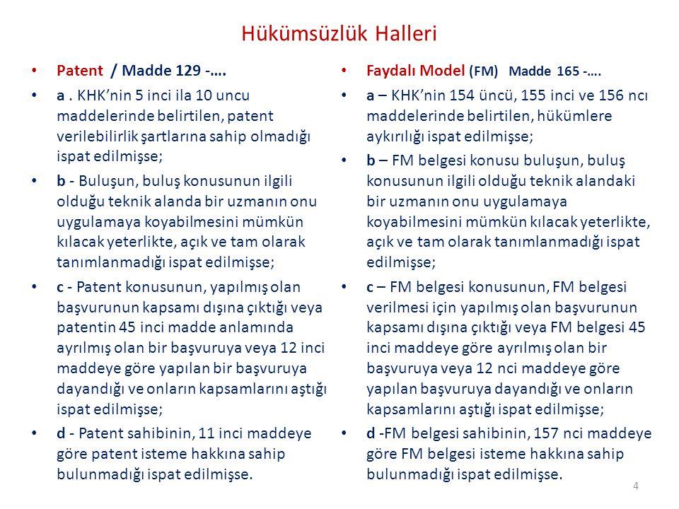 Hükümsüzlük Halleri Patent / Madde 129 -….