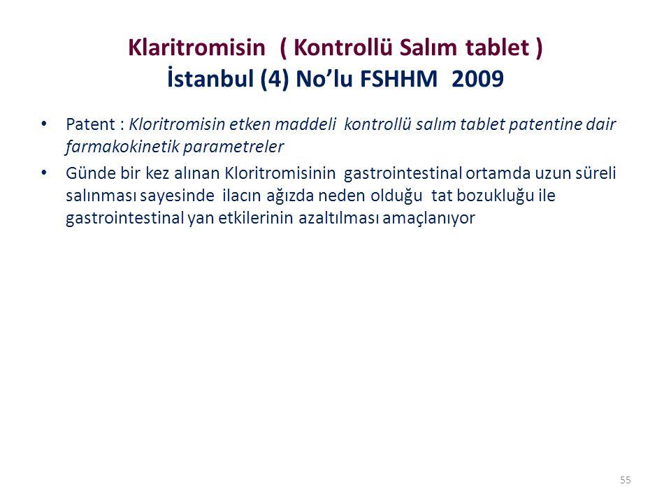 Klaritromisin ( Kontrollü Salım tablet ) İstanbul (4) No'lu FSHHM 2009