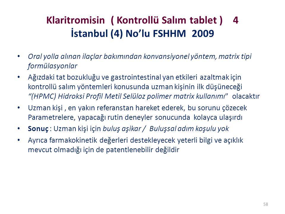 Klaritromisin ( Kontrollü Salım tablet ) 4 İstanbul (4) No'lu FSHHM 2009