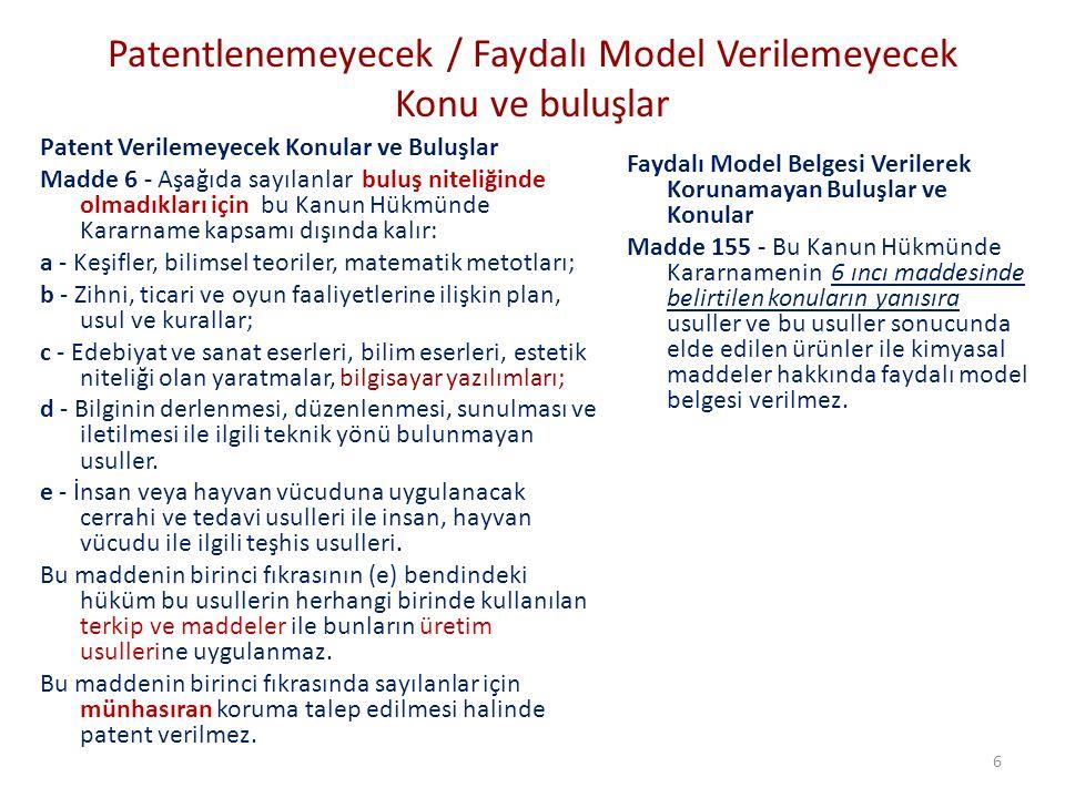Patentlenemeyecek / Faydalı Model Verilemeyecek Konu ve buluşlar