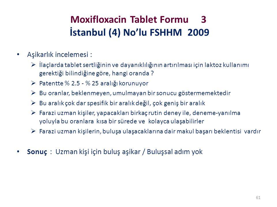 Moxifloxacin Tablet Formu 3 İstanbul (4) No'lu FSHHM 2009