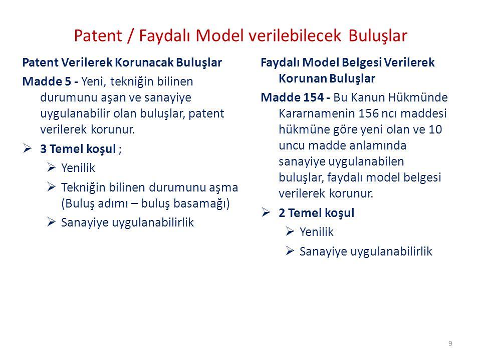 Patent / Faydalı Model verilebilecek Buluşlar
