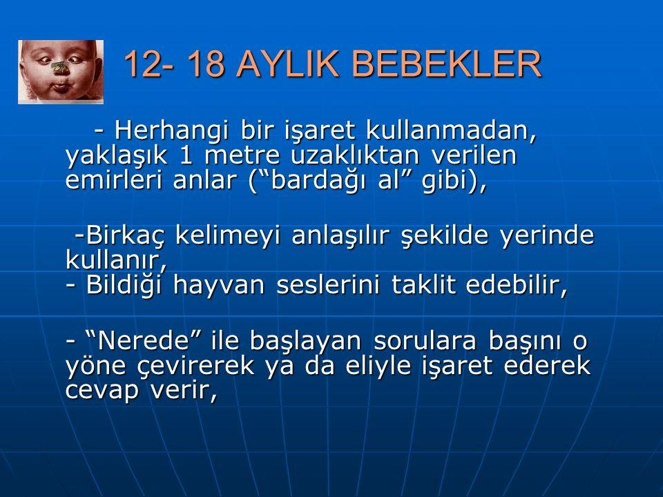 12- 18 AYLIK BEBEKLER - Herhangi bir işaret kullanmadan, yaklaşık 1 metre uzaklıktan verilen emirleri anlar ( bardağı al gibi),