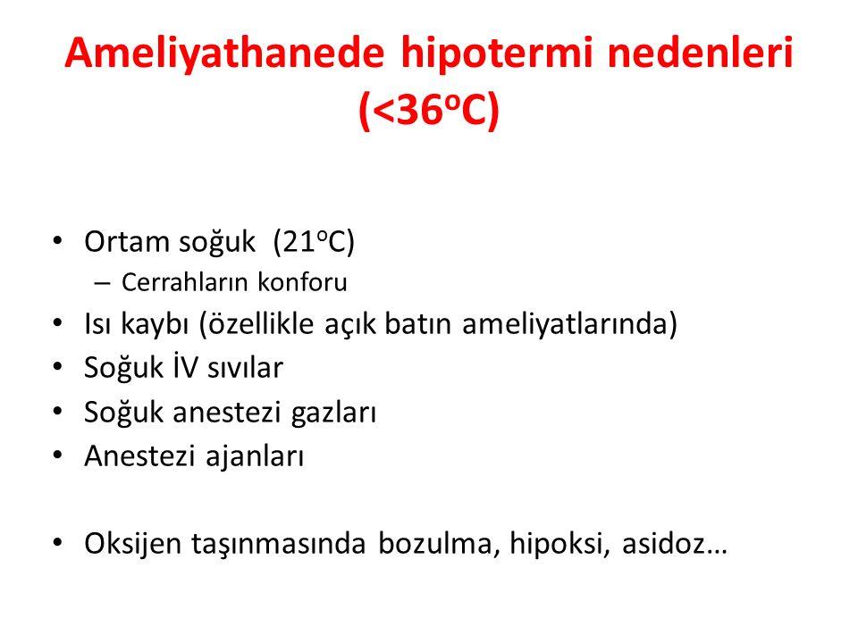 Ameliyathanede hipotermi nedenleri (<36oC)