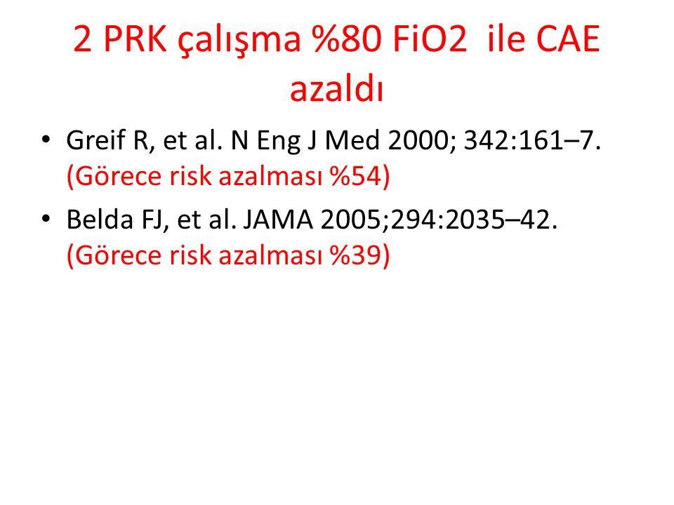 2 PRK çalışma %80 FiO2 ile CAE azaldı