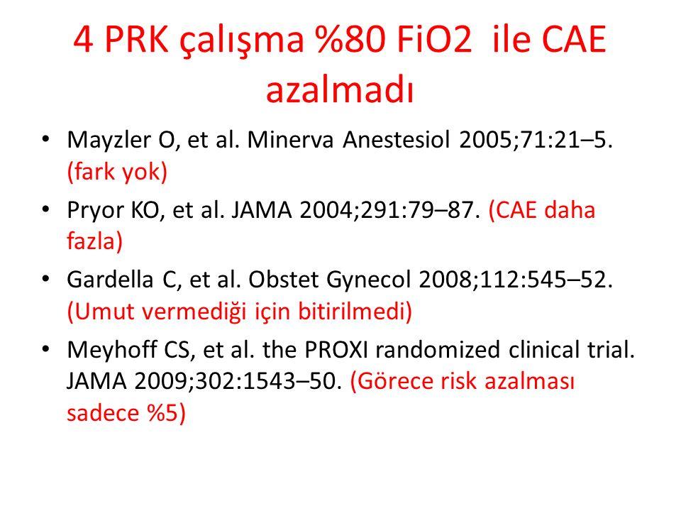 4 PRK çalışma %80 FiO2 ile CAE azalmadı