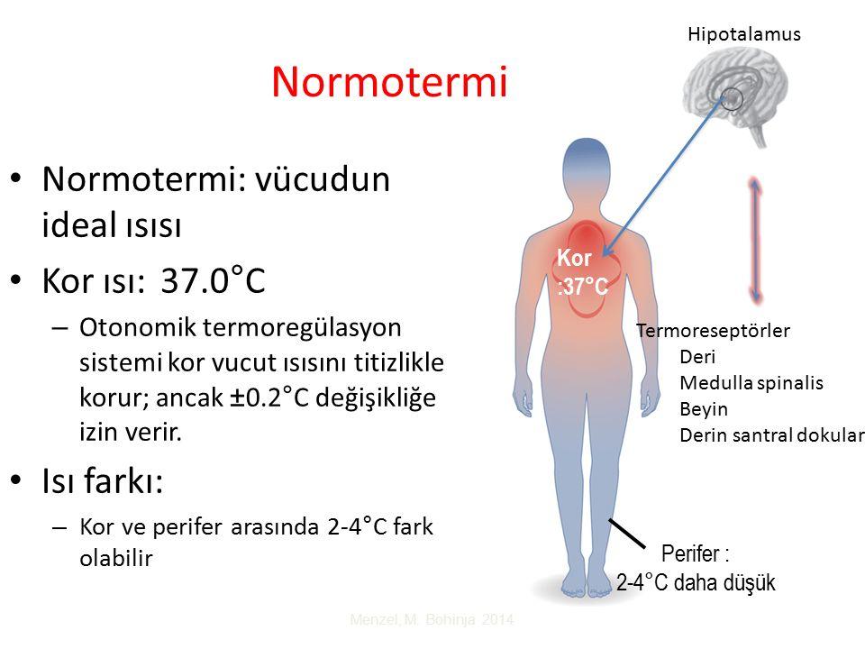 Normotermi Normotermi: vücudun ideal ısısı Kor ısı: 37.0°C Isı farkı: