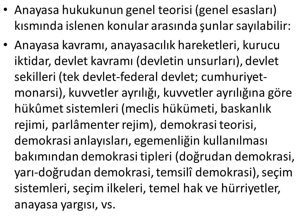 Anayasa hukukunun genel teorisi (genel esasları) kısmında islenen konular arasında şunlar sayılabilir: