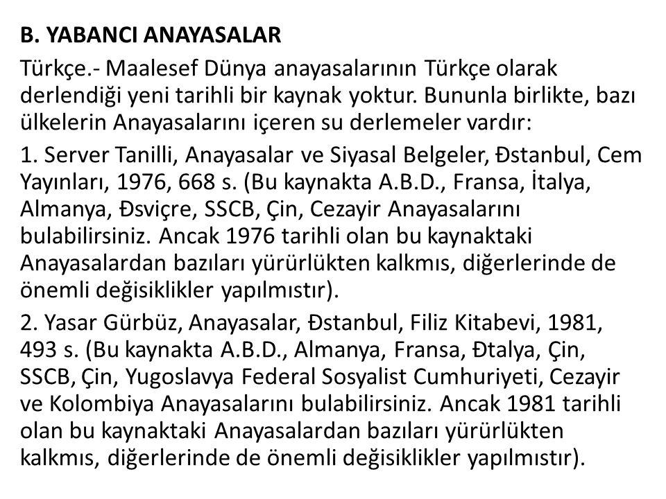 B. YABANCI ANAYASALAR Türkçe