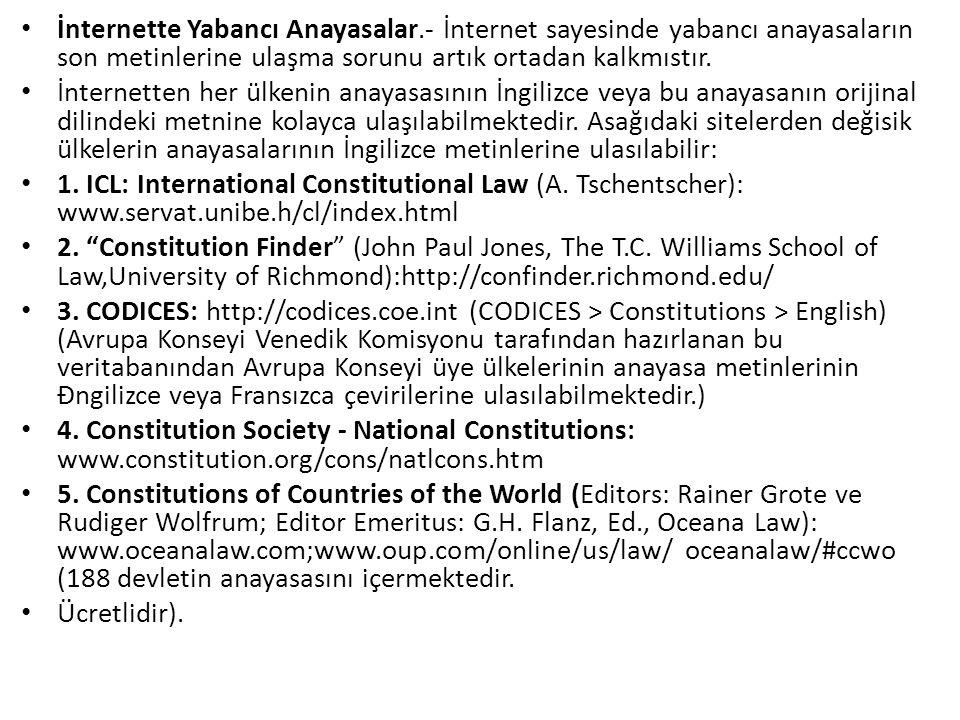 İnternette Yabancı Anayasalar