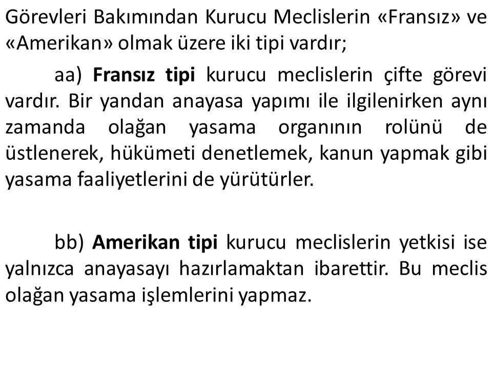 Görevleri Bakımından Kurucu Meclislerin «Fransız» ve «Amerikan» olmak üzere iki tipi vardır;