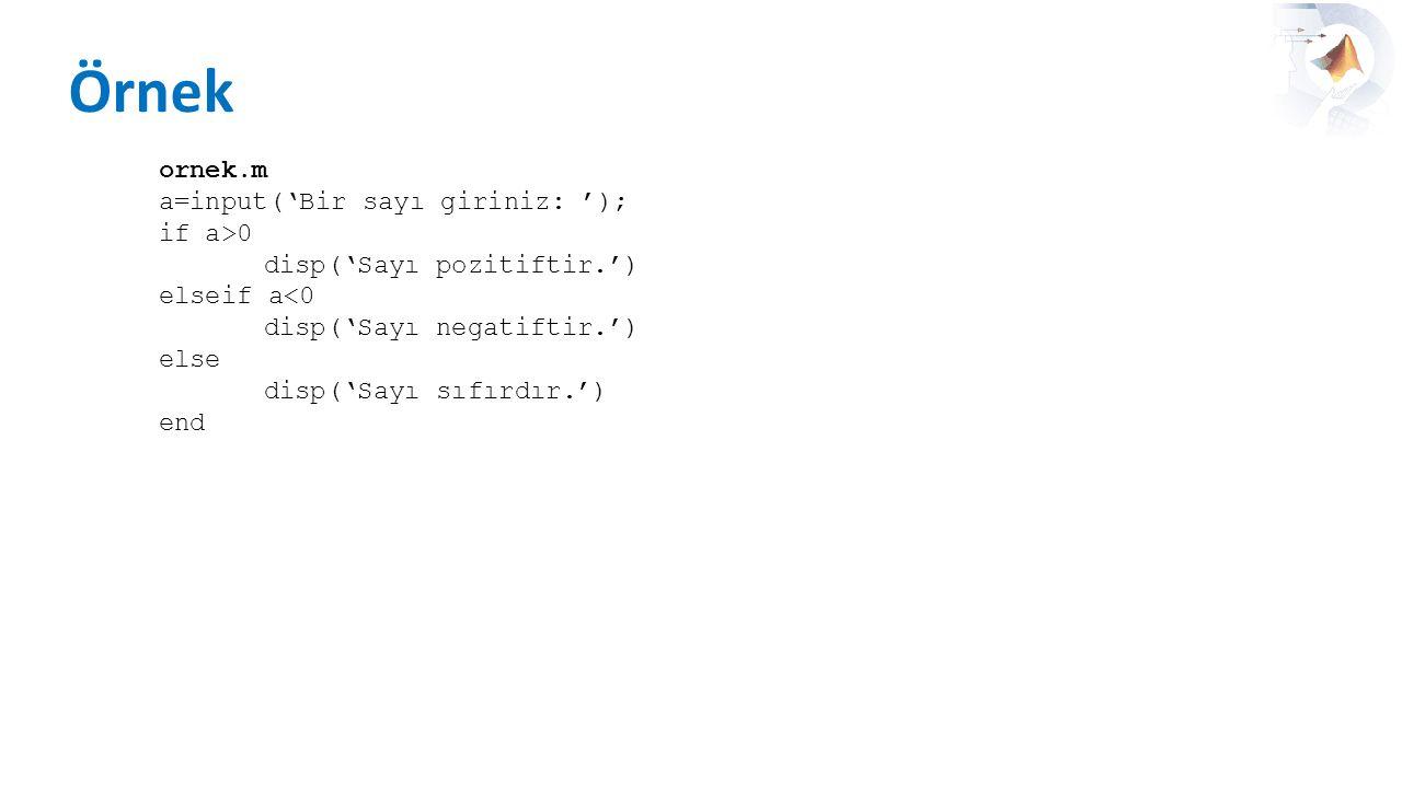 Örnek ornek.m a=input('Bir sayı giriniz: '); if a>0