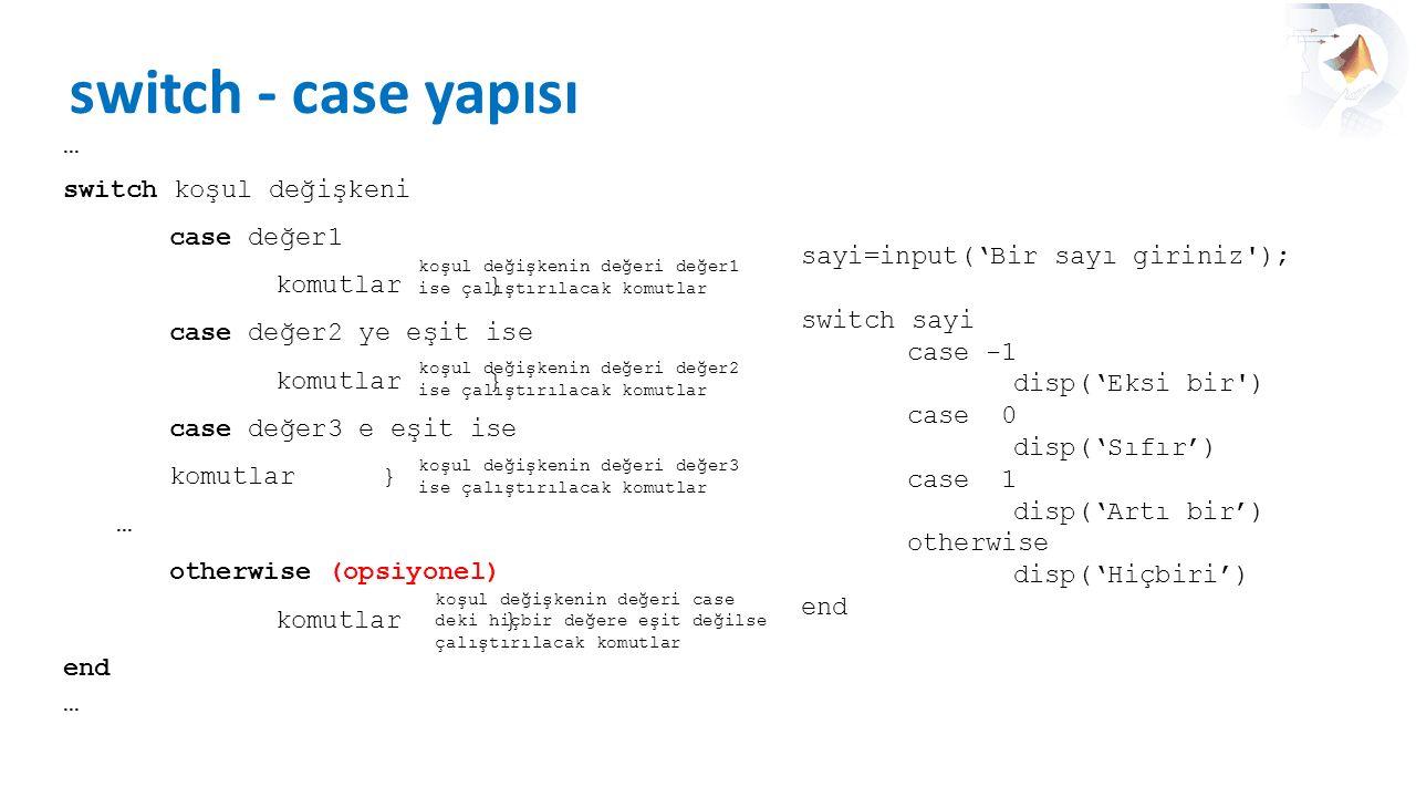 switch - case yapısı … switch koşul değişkeni case değer1 komutlar }
