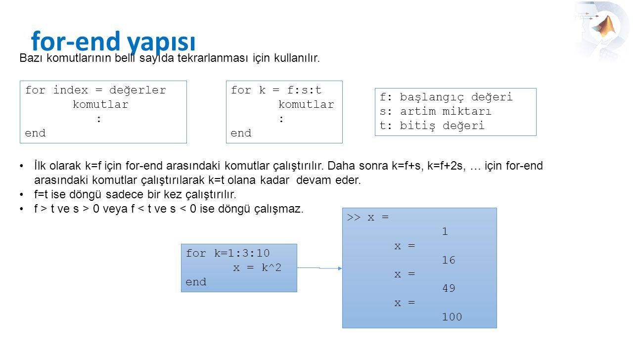for-end yapısı Bazı komutlarının belli sayıda tekrarlanması için kullanılır. for index = değerler.