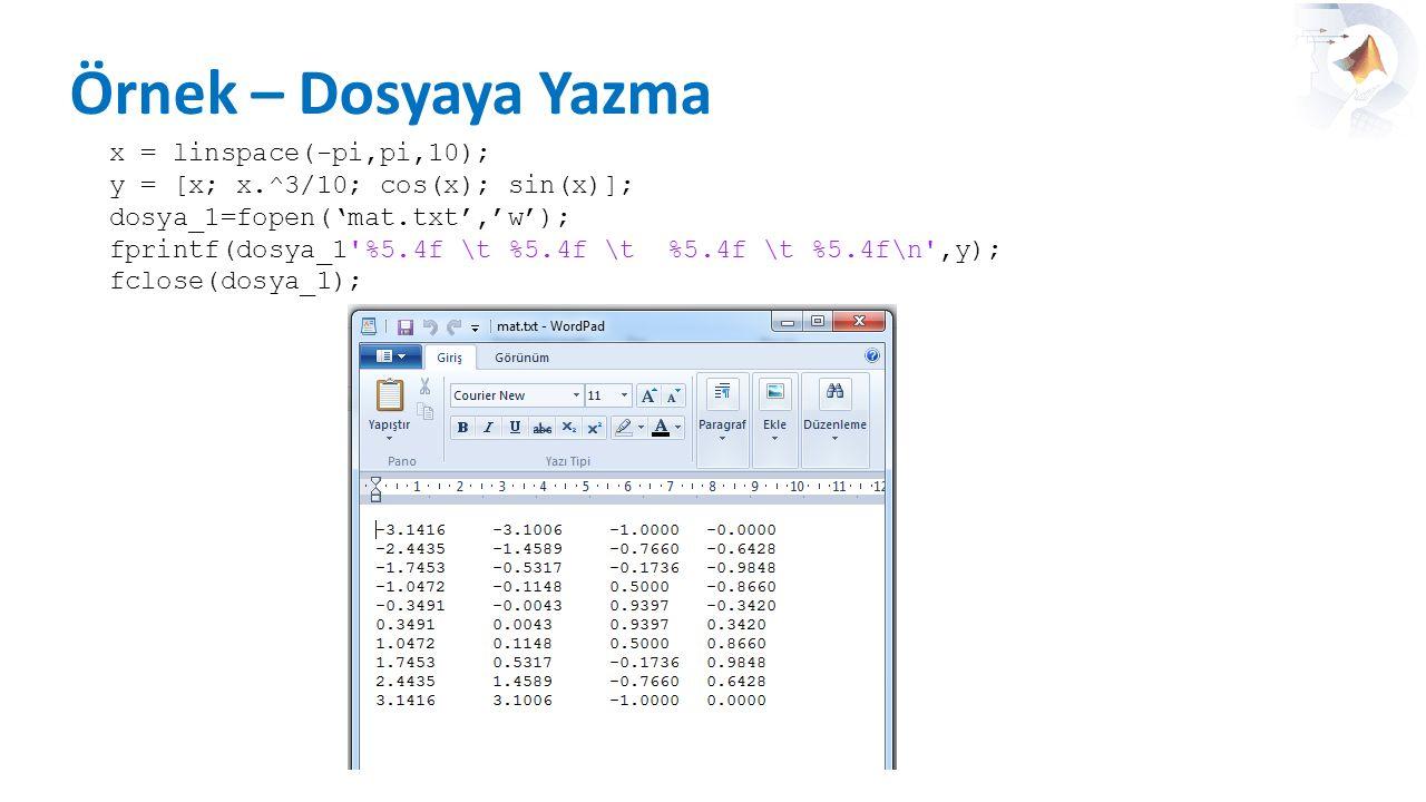 Örnek – Dosyaya Yazma x = linspace(-pi,pi,10);