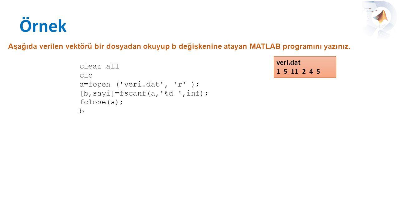 Örnek Aşağıda verilen vektörü bir dosyadan okuyup b değişkenine atayan MATLAB programını yazınız. veri.dat.