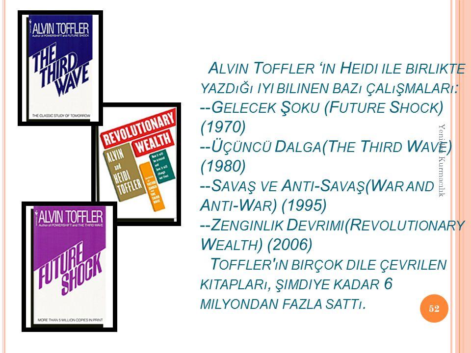Alvin Toffler 'in Heidi ile birlikte yazdığı iyi bilinen bazı çalışmaları: --Gelecek Şoku (Future Shock) (1970) --Üçüncü Dalga(The Third Wave) (1980) --Savaş ve Anti-Savaş(War and Anti-War) (1995) --Zenginlik Devrimi(Revolutionary Wealth) (2006) Toffler ın birçok dile çevrilen kitapları, şimdiye kadar 6 milyondan fazla sattı.