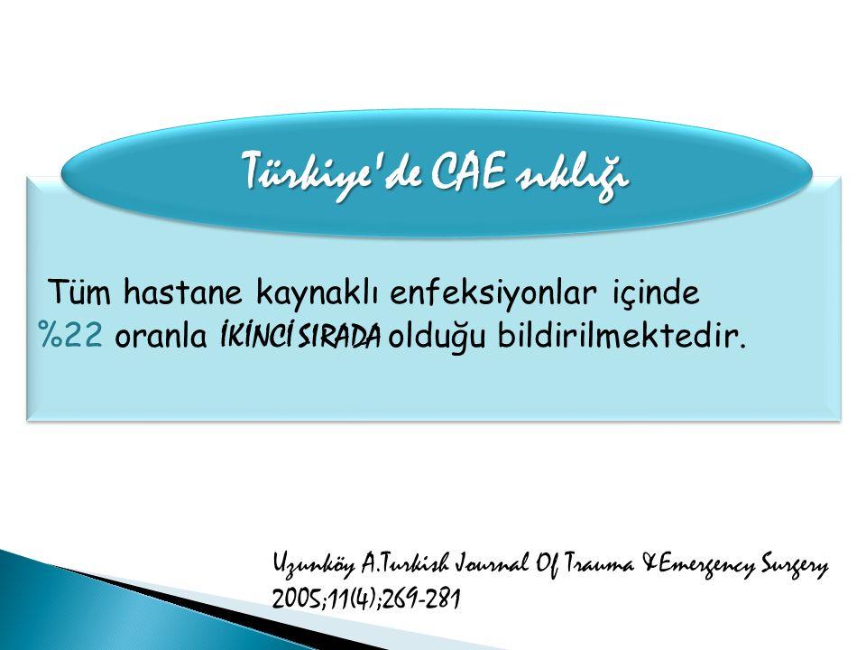 Türkiye de CAE sıklığı Tüm hastane kaynaklı enfeksiyonlar içinde