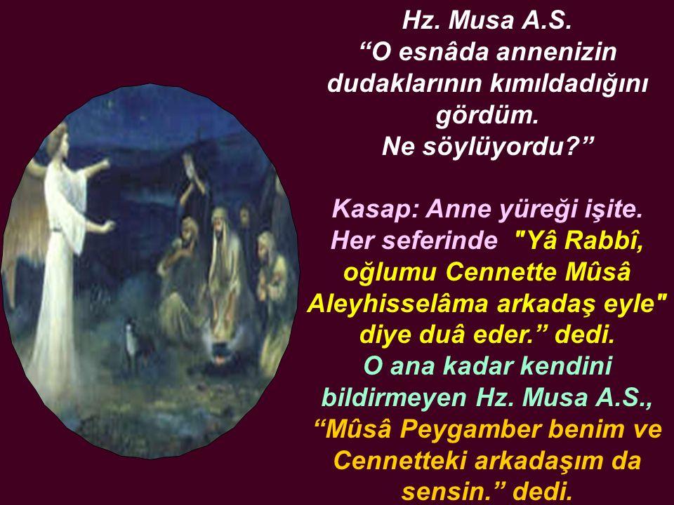 Hz. Musa A. S. O esnâda annenizin dudaklarının kımıldadığını gördüm