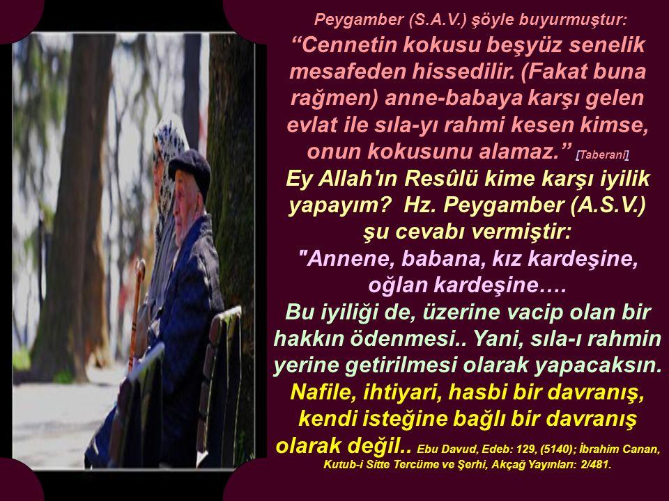 Peygamber (S.A.V.) şöyle buyurmuştur: