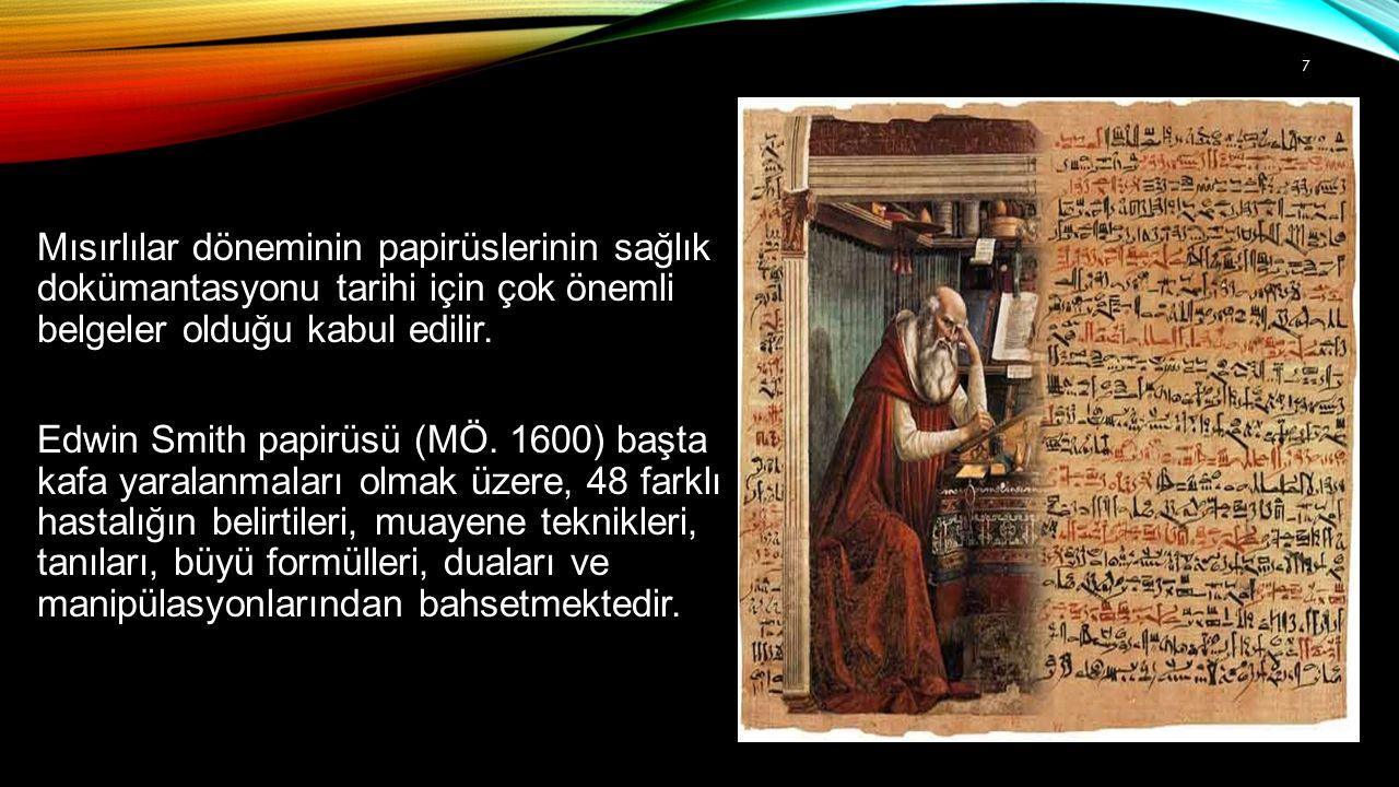 Mısırlılar döneminin papirüslerinin sağlık dokümantasyonu tarihi için çok önemli belgeler olduğu kabul edilir.