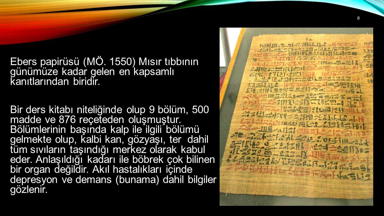 Ebers papirüsü (MÖ. 1550) Mısır tıbbının günümüze kadar gelen en kapsamlı kanıtlarından biridir.