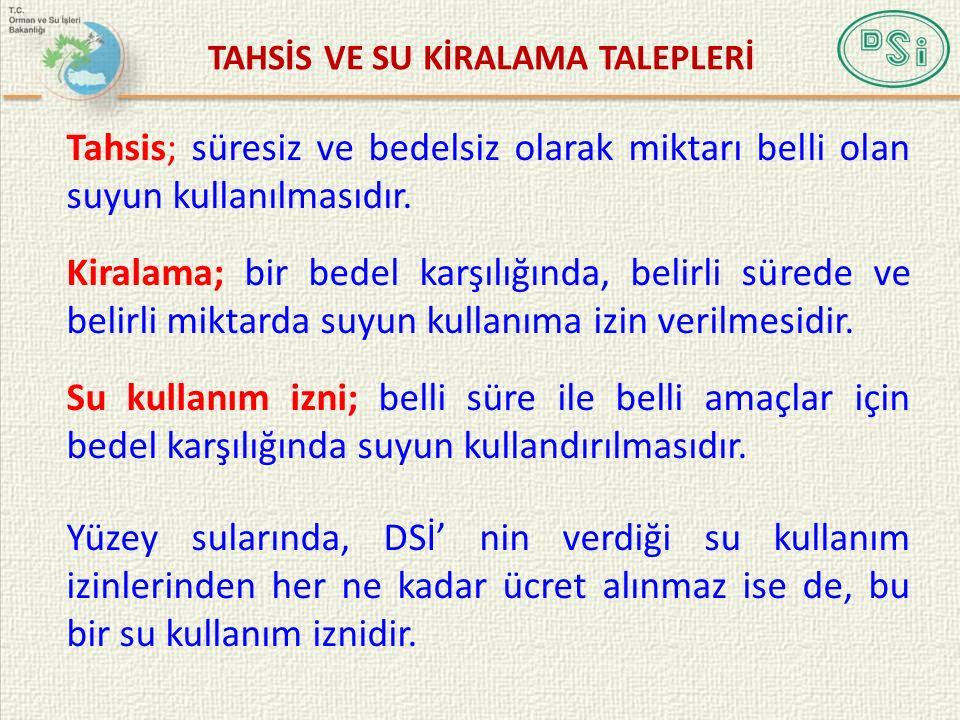 TAHSİS VE SU KİRALAMA TALEPLERİ
