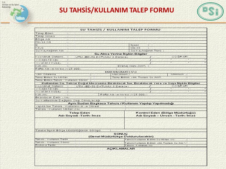 SU TAHSİS/KULLANIM TALEP FORMU