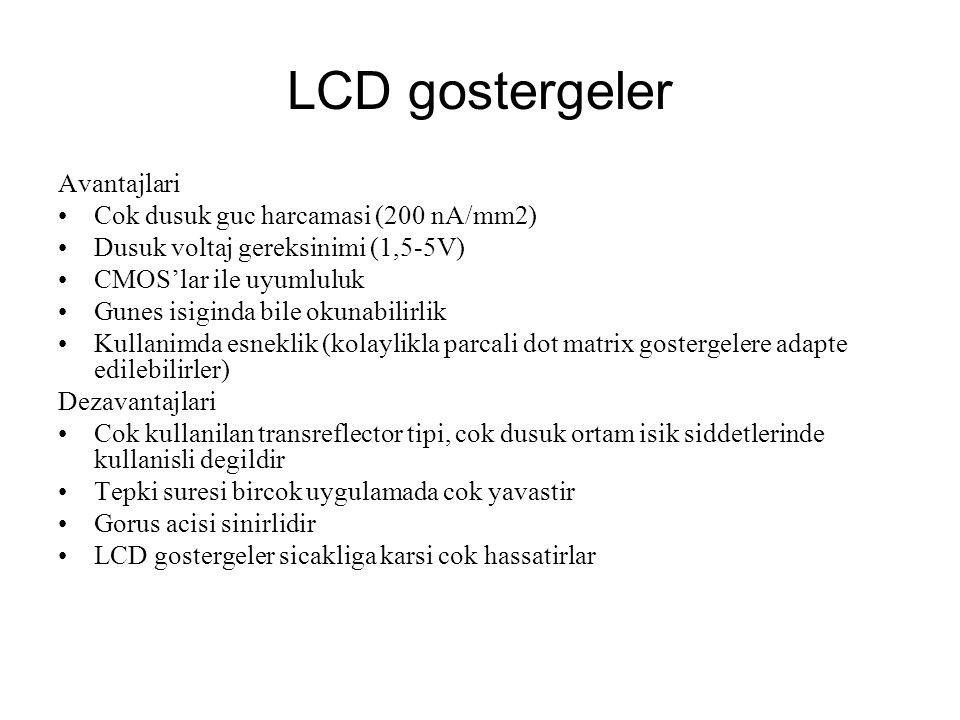 LCD gostergeler Avantajlari Cok dusuk guc harcamasi (200 nA/mm2)