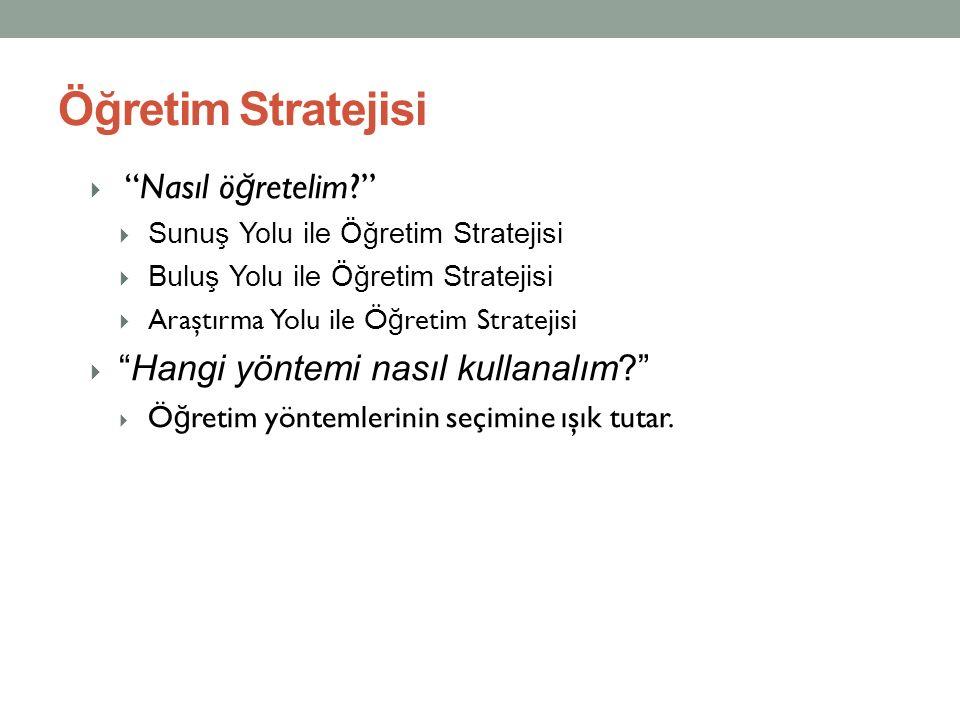 Öğretim Stratejisi Nasıl öğretelim