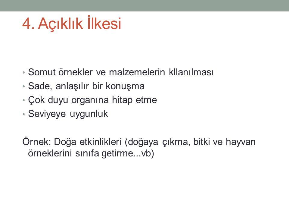 4. Açıklık İlkesi Somut örnekler ve malzemelerin kllanılması