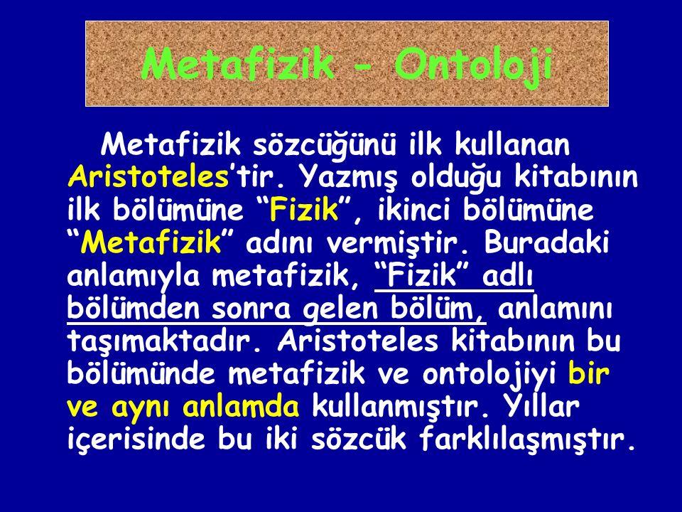 Metafizik - Ontoloji