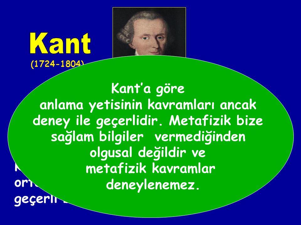 Kant Kant'a göre anlama yetisinin kavramları ancak