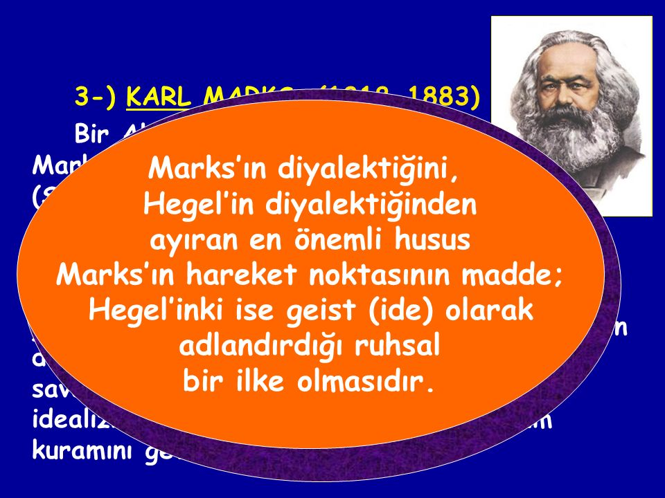 Marks'ın diyalektiğini, Hegel'in diyalektiğinden
