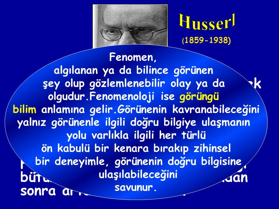 Husserl (1859-1938) Fenomen, algılanan ya da bilince görünen. şey olup gözlemlenebilir olay ya da.
