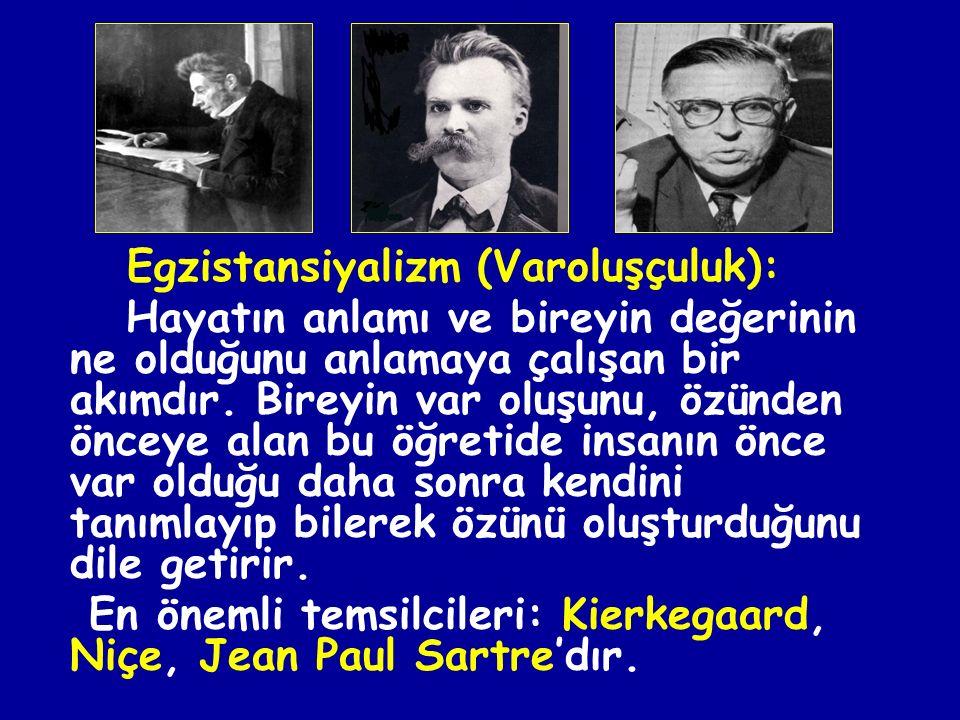 En önemli temsilcileri: Kierkegaard, Niçe, Jean Paul Sartre'dır.