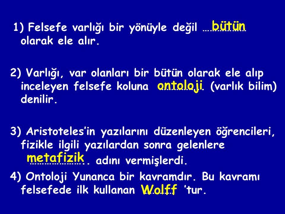 bütün ontoloji metafizik Wolff